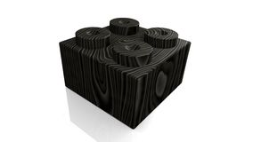 Wooden black lego block (3D) Royalty Free Stock Photography