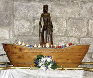 Wooden Black Madonna copy inside of the Basilica of St-Saveur in Rocamadour Stock Photography