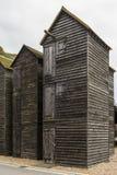 Wooden black net huts, Hastings Stock Image