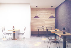 Wooden, black and white cafe, wall toned Stock Images