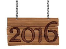 Wooden Blackboard with 2016  (clipping path included) Royalty Free Stock Photography