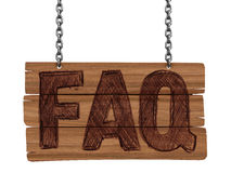 Wooden Blackboard with FAQ  (clipping path included) Stock Photography