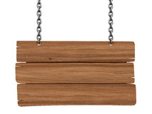 Wooden Blackboard hanging on chains  (clipping path included) Stock Photo