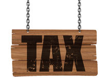 Wooden Blackboard hanging on chains with TAX  (clipping path included) Stock Photography