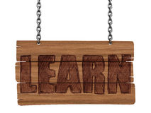 Wooden Blackboard with LEARN  (clipping path included) Royalty Free Stock Image