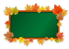 Wooden blackboard with leaves Stock Images