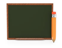 Wooden blackboard and pencil Royalty Free Stock Images