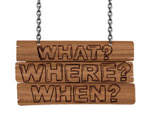 Wooden Blackboard with questions (clipping path included) Royalty Free Stock Images