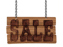 Wooden Blackboard with sale (clipping path included) Royalty Free Stock Photography