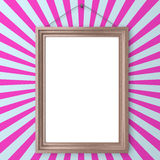 Wooden blank frame on wall Royalty Free Stock Photo