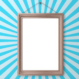 Wooden blank frame on wall Royalty Free Stock Photos