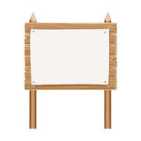 Wooden blank sign board with paper isolated on white Stock Photography