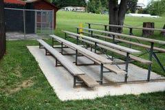 Wooden bleachers. At a baseball field for spectators stock photography