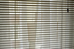 Wooden blinds. With net curtains behind them Stock Photography