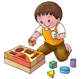 Wooden block. A kid learns to know shapes by playing with wooden blocks Stock Photography