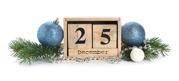 Wooden block calendar and decor. On white background. Christmas countdown royalty free stock images