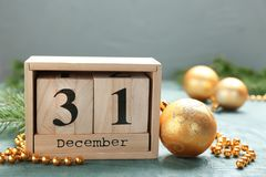 Wooden block calendar and decor. On table. Christmas countdown royalty free stock images