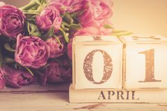 Wooden Block with Fools Day Date, 1 April stock image
