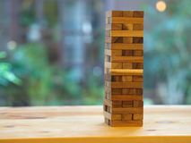 Wooden Block Game. Wood Tower Contruction Cube Toy. Stock Image