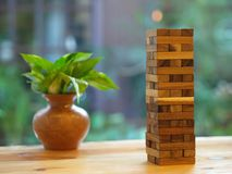 Wooden Block Game. Wood Tower Contruction Cube Toy. Stock Photos