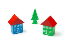 Wooden block houses Stock Photo