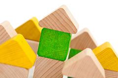 Wooden block houses out of toys Royalty Free Stock Images