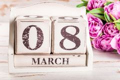 Wooden Block with International Womens Day Date, 8 March stock photo