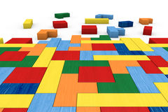 Wooden block puzzle. Closeup of a wooden puzzle made with blocks of different shape and color (3d render Stock Image