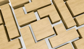 Wooden block puzzle. Closeup of a wooden puzzle made with blocks of different shape (3d render Stock Photos