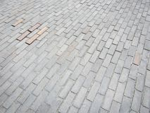 Wooden Block Roadway. Road make of wooden bricks. Geometric shapes. Roads, walkways stock photography