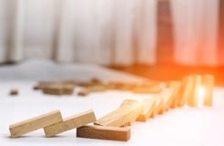 Wooden block step crash failure and risk. On business and drape change, choice business risking dangerous project plan failure construction Stock Image