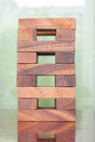 Wooden block tower game for children. Wood block tower game for children Royalty Free Stock Images