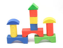 Wooden Block Towers. A simple building made of colorful wooden blocks Stock Photography