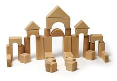 Wooden block toy. Construction toy made of wooden blocks stock images