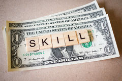 Wooden block word skill and Dollar banknote Royalty Free Stock Images