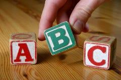 Wooden blocks. Wooden Children's Blocks saying 'ABC Stock Photo