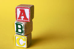 Wooden blocks. Wooden Children's Blocks saying 'ABC Royalty Free Stock Image