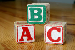 Wooden blocks. Children's wooden blocks saying 'ABC royalty free illustration