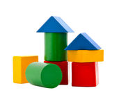 Wooden blocks. Children's wooden blocks of different colors on a white background Stock Images