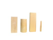 Wooden blocks. O different shapes isolated over white Royalty Free Stock Photos