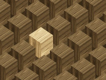 Wooden blocks. With lighter block standing out Royalty Free Stock Photography