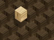 Wooden blocks. With lighter block above others Royalty Free Stock Photography