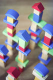 Wooden blocks. Towers built of colorful building blocks Royalty Free Stock Photos