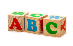 Wooden blocks with ABC  letters. Wooden blocks with alphabet letters (ABC) isolated on white Royalty Free Stock Photography