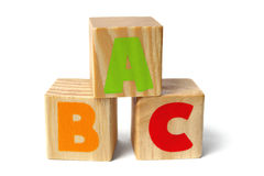 Wooden blocks with ABC letters Royalty Free Stock Image