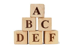 Wooden blocks with ABCDEF letters Royalty Free Stock Photography
