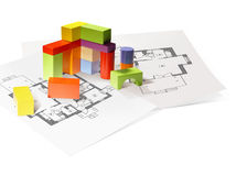 Wooden blocks and architectural drawings Royalty Free Stock Photography