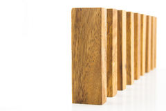 Wooden blocks arranged in a row Royalty Free Stock Image