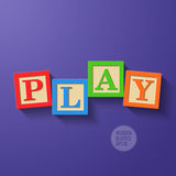 Wooden blocks arranged in the word PLAY Stock Images