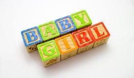 Wooden Blocks Baby Girl Royalty Free Stock Photo